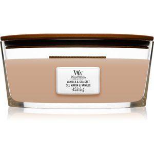 Woodwick Vanilla & Sea Salt vonná svíčka s dřevěným knotem (hearthwick) 453,6 g