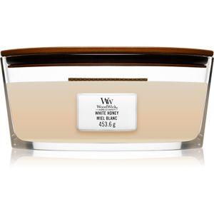 Woodwick White Honey vonná svíčka s dřevěným knotem (hearthwick) 453,6 g