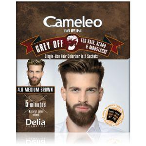 Delia Cosmetics Cameleo Men jednorázová barva pro okamžité zakrytí šedin odstín 4.0 Medium Brown 2 x 15 ml