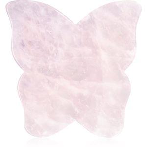 Crystallove Butterfly Rose Quartz Gua Sha Plate masážní pomůcka
