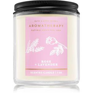 Bath & Body Works Aromatherapy Rose & Lavender vonná svíčka 198 g