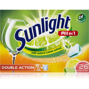 Sunlight All in 1 Double Action tablety do myčky (Citrus Fresh) 26 ks