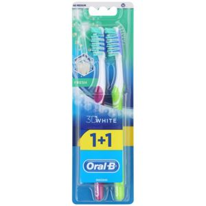 Oral B 3D White Fresh zubní kartáčky medium 2 ks Violet & Green 2 ks